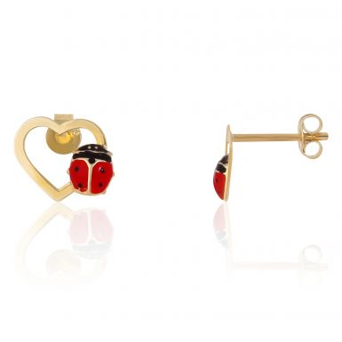 New 9ct Gold Red Ladybug Heart Stud Earrings