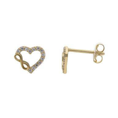 New 9ct Yellow Gold Infinity Heart Stud Earring
