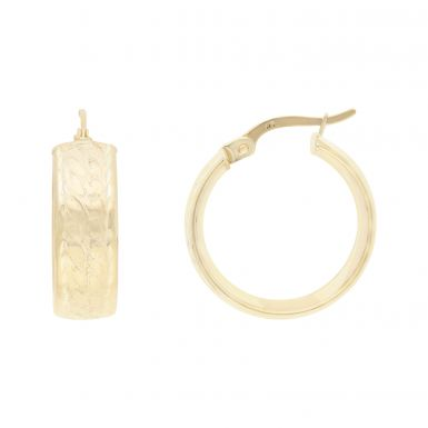 New 9ct Yellow Gold Patterned Wide Hoop Earrings