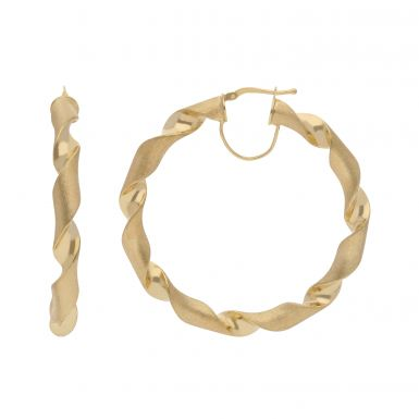 New 9ct Yellow Gold 55mm Satin & Polished Twisted Hoop Earrings