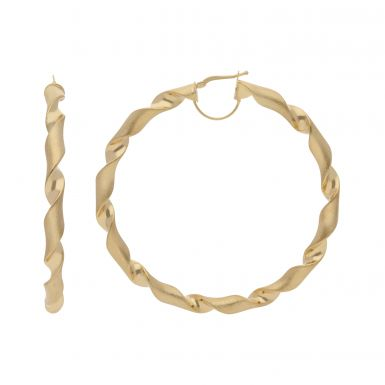New 9ct Yellow Gold Large 70mm Satin & Polished Twisted Hoop