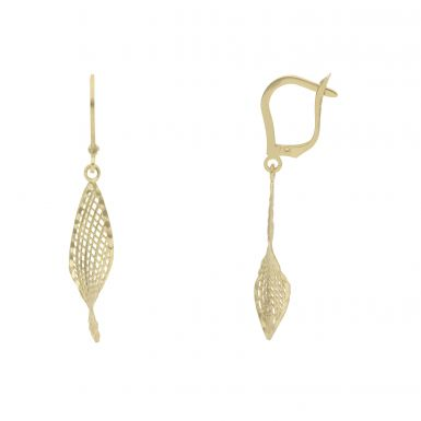 New 9ct Yellow Gold Mesh Style Twisted Drop Lever Back Earrings