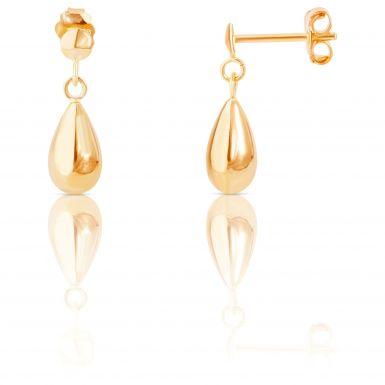 New 9ct Yellow Gold Polished Teardrop Drop Earrings