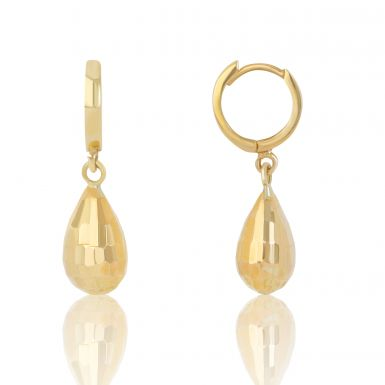 New 9ct Yellow Gold Huggie Clasp with Faceted Pear Drop Earrings