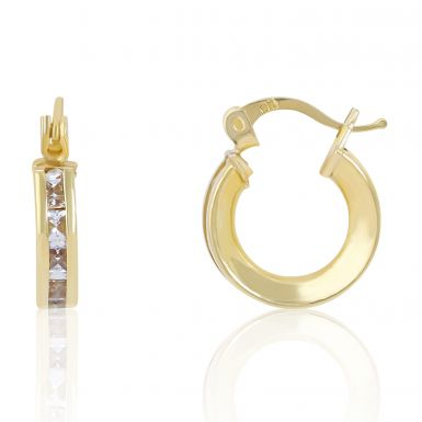 New 9ct Yellow Gold Cubic Zirconia Set Small Hoop Earrings