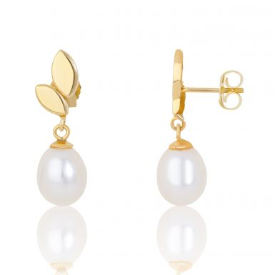 New 9ct Yellow Gold Fresh Water Cultured Pearl Drop Earrings
