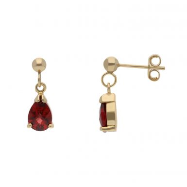 New 9ct Yellow Gold Multi Faceted Garnet Pear Drop Earrings