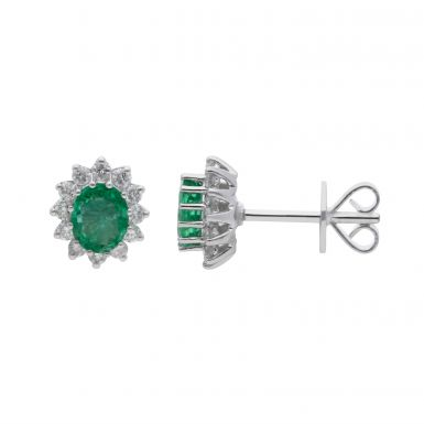 New 18ct White Gold Emerald & Diamond Oval Cluster Stud Earrings
