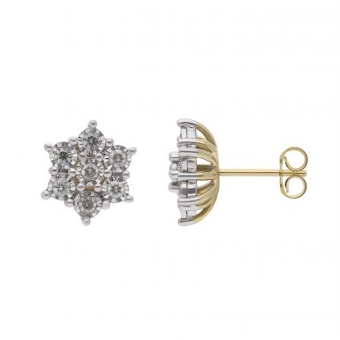 New 9ct Yellow & White Gold 0.50ct Diamond Cluster Stud Earrings