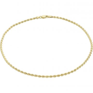 New 9ct Yellow Gold 10 Inch Hollow Diamond-Cut Rope Anklet