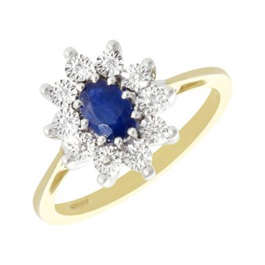 New 9ct Yellow Gold Sapphire & Diamond Oval Cluster Ring