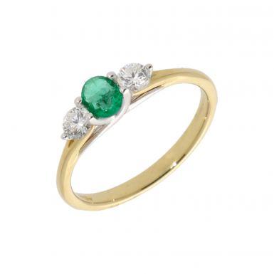 New 18ct Yellow Gold Emerald & Diamond Trilogy Ring