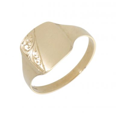 New 9ct Gold Cushion Shaped Half Engraved Mens Signet Ring