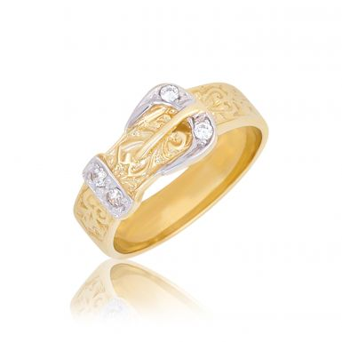 New 9ct Yellow Gold Stone Set Childs Single Buckle Dress Ring