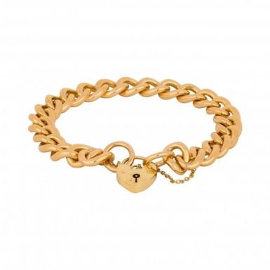 Pre-Owned 9ct Yellow Gold Heavy Curb Link Charm Style Bracelet