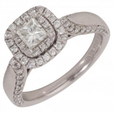 Pre-Owned 750 Vera Wang Diamond Halo Solitaire Ring
