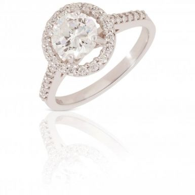 New 18ct White Gold 1.40 Carat Diamond Halo Solitaire Ring