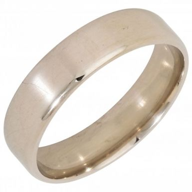 Pre-Owned 9ct White Gold 6mm Flat Wedding Band Ring