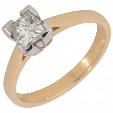New 18ct Gold 0.64 Carat Princess Cut Diamond Solitaire Ring