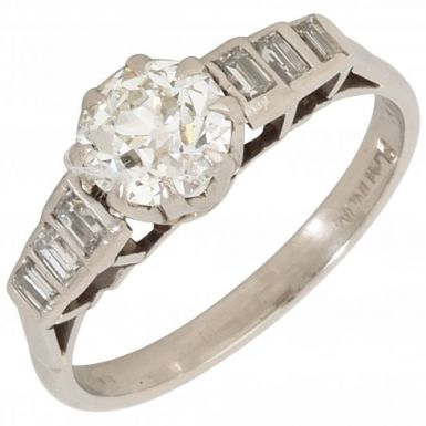 Pre-Owned Platinum Mixed Cut Diamond Solitaire & Shoulders Ring