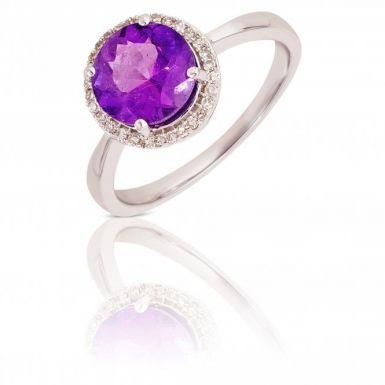 New 9ct White Gold Amethyst & Diamond Round Halo Style Ring
