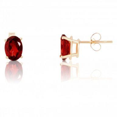 New 9ct Gold Oval Garnet Stud Earrings