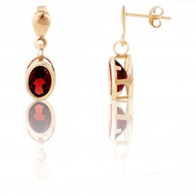 New 9ct Gold Oval Garnet Drop Style Earrings