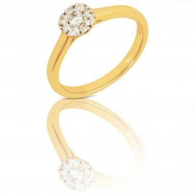 New 9ct Yellow Gold 0.24 Carat Diamond Cluster Ring