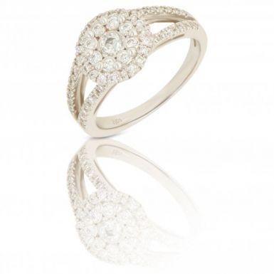 New 18ct White Gold 0.43 Carat Diamond Halo Cluster Ring