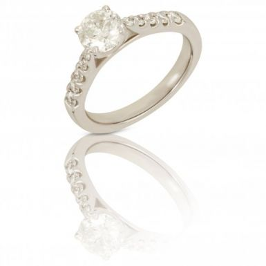 New 18ct Gold 1.02ct Diamond Solitaire with 0.30ct Diamond Mount