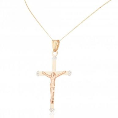 New 9ct Yellow  White  & Rose Gold 18 Inch Crucifix Necklace