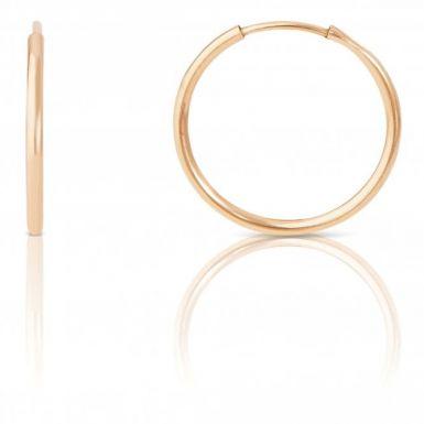 New 9ct Gold 17mm Plain Sleeper Style Earrings