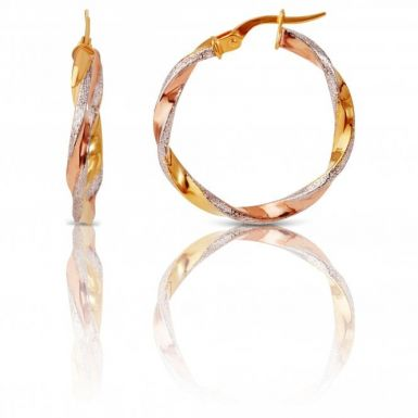 New 9ct Three Colour Gold Patterned & Polished Twisted Hoops