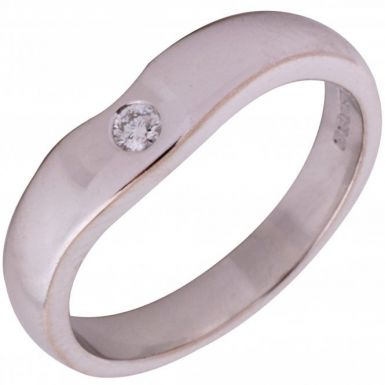 Pre Owned 18ct White Gold Diamond Set Shaped Wave Band Ring