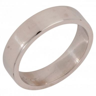 Pre-Owned 18ct White Gold 5mm Flat Wedding Band Ring