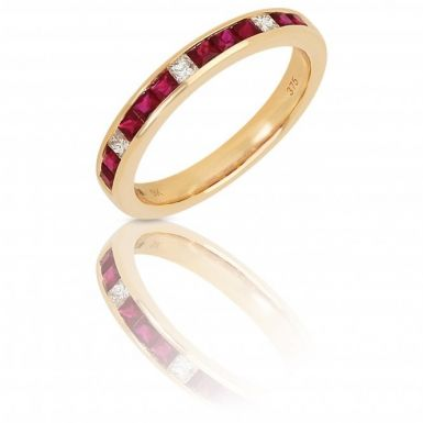 New 9ct Yellow Gold Ruby & Diamond Eternity Ring