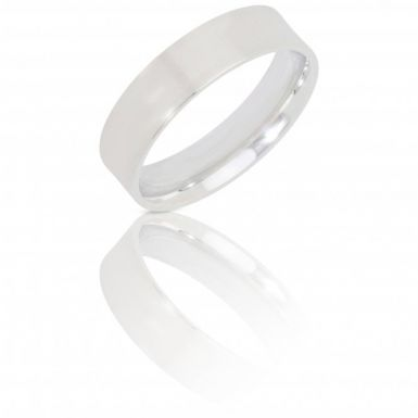 New Sterling Silver 6mm Flat Top Court Wedding Ring