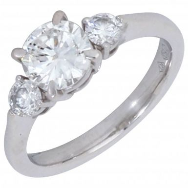 Pre-Owned 18ct White Gold 1.33 Carat Diamond 3 Stone Ring