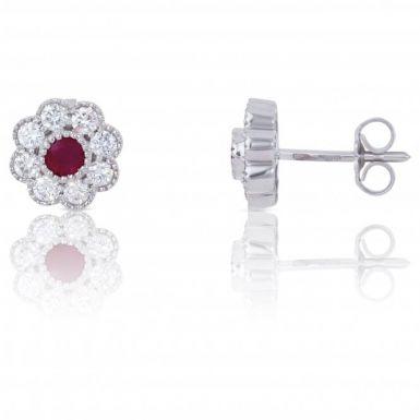 New 18ct White Gold Ruby & Diamond Flower Cluster Stud Earrings