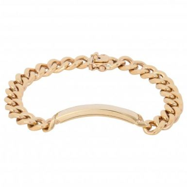 Pre-Owned 9ct Yellow Gold 8.2 Inch Curb Indentity Bar Bracelet
