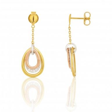 New 9ct Multi Colour Gold Diamond Loop Drop Earrings