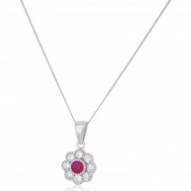 New 18ct White Gold Ruby & Diamond Cluster Pendant & Necklace