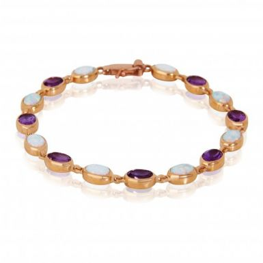 New 9ct Rose Gold Synthetic Amethyst & Cultured Opal Bracelet