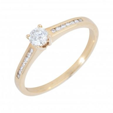 Pre-Owned 9ct Yellow Gold Diamond Solitaire & Shoulders Ring