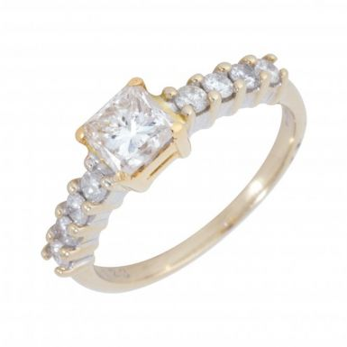 Pre-Owned 18ct Gold 1.09 Carat Diamond Solitaire & Shoulder Ring