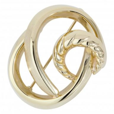 Pre-Owned 9ct Yellow Gold Fancy Wave Twist Brooch