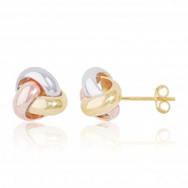 New 9ct 3 Colour Gold Knot Stud Earrings