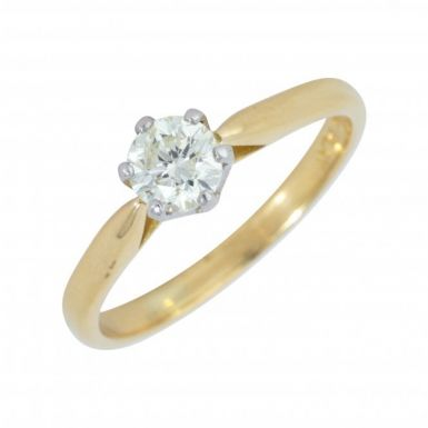 Pre-Owned 18ct Yellow Gold 0.89 Carat Diamond Solitaire Ring