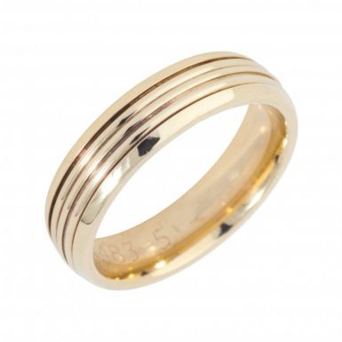 Pre-Owned 9ct Yellow Gold 5mm Ridged Wedding Band Ring