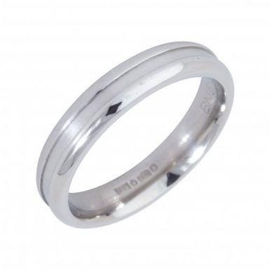 Pre-Owned Platinum 4mm Ridged Wedding Band Ring